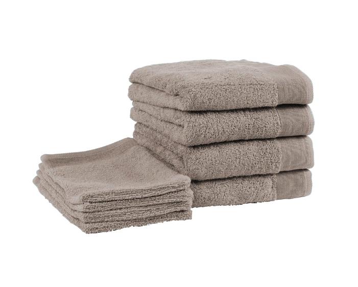 kussen.be - badgoedset walra - 4 washandjes en 4 handdoeken (taupe)